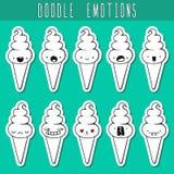 Set of 10 sticker doodle ice cream with emotions. Dessert Stock Photos