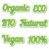 Set  sticker, eco friendly and organic food labels, vector collection of labels for natural  bio foods Stock Photography