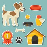 Set of sticker icons and objects with cute dog.  Stock Photo