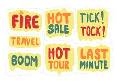Set of sticker with inscriptions last minute and hot sale. Vector Royalty Free Stock Image