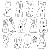 Set 12 sticker rabbit doodle with different emotions. Rabbit Handmade. Isolated rabbit for design. Easter bunny. Surprised rabbit. Carrots and cabbage. Rabbit Royalty Free Stock Image