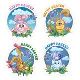Set sticker with rabbit Royalty Free Stock Photo