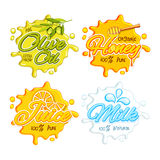 Set of Sticker, Tag or Label for Food and Drink. Stickers, Tags or Labels of Olive Oil, Organic Honey, Fresh Juice and Milk, Creative typographic set with Royalty Free Stock Photo