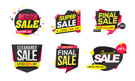 Set of Sticker, Tag or Label of Sale. Stock Photos