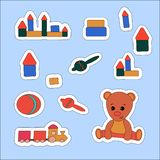 Set sticker Teddy Bear and toys. Vector illustration , label, price tag, banner, scrap note. Set sticker Teddy Bear and toys, ball, train. Vector illustration royalty free illustration