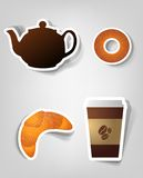 Set of  stickers. Set of design elements to advertise cafe Royalty Free Stock Images