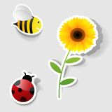 Set of  stickers. Vector set of icons on the nature theme Stock Images