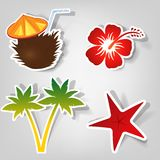 Set of  stickers. Set of design elements to advertise a beach party Royalty Free Stock Image