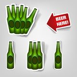 Set of  stickers. Set of design elements to advertise beer party Royalty Free Stock Photos