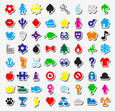 Set of stickers. Set of 64 different stickers Royalty Free Stock Photo