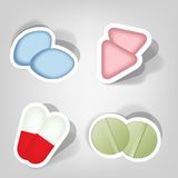 Set of  stickers. Set of design elements for advertising pharmacies Royalty Free Stock Images