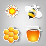 Set of  stickers. Set of design elements for advertising beekeeping products Royalty Free Stock Photography