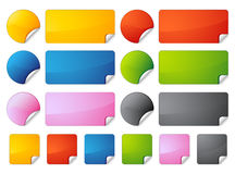 Set of stickers. (round, square, rectangle vector illustration