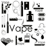 Set stickers and accessories for vaping Royalty Free Stock Image