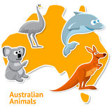 Set of stickers with australian animals and map as Stock Photo