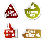 Set stickers autumn offer Stock Photography