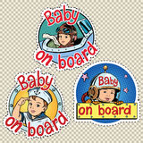 Set of stickers baby on board Royalty Free Stock Photo