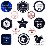 Set of stickers and badges for laundries and cleaning rooms Royalty Free Stock Images