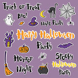 Set of stickers, badges and lettering for a happy Halloween. Stock Photography