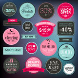 Set of stickers and badges for sale royalty free illustration