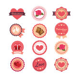 Set of stickers and badges for Valentine's day Royalty Free Stock Image