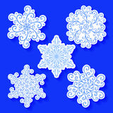 Set of Stickers with Beautiful Deco Small Snowflakes Stock Photo