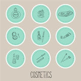 Set a stickers of beauty and cosmetics icons Stock Photography