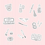 Set a stickers of beauty and cosmetics icons Royalty Free Stock Photo