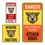 Set of stickers with beware bad dog signs vector illustration Stock Image
