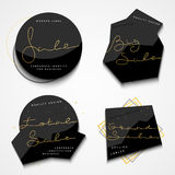Set of 4 stickers . Black label. Vintage labels Royalty Free Stock Photo