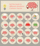 Set stickers brains in different situations Vector cartoon icon Stock Photo