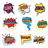 Set of stickers bubbles with text. Short messages in a color bubble royalty free illustration