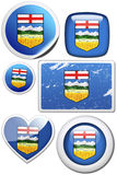Set of stickers and buttons - Alberta (Canada). Glossy and colorful stickers with reflection set Royalty Free Stock Photography