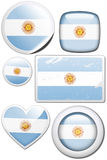 Set of stickers and buttons - Argentina. Glossy and colorful stickers with reflection set Stock Photos