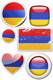 Set of stickers and buttons - Armenia. Glossy and colorful stickers with reflection set Royalty Free Stock Photography