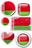 Set of stickers and buttons - Belarus. Glossy and colorful stickers with reflection set Stock Photography