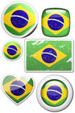 Set of stickers and buttons - Brazil. Glossy and colorful stickers with reflection set Royalty Free Stock Photo