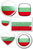 Set of stickers and buttons - Bulgaria. Glossy and colorful stickers with reflection set Royalty Free Stock Images