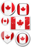 Set of stickers and buttons - Canada. Glossy and colorful stickers with reflection set Stock Images