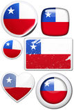 Set of stickers and buttons - Chile. Glossy and colorful stickers with reflection set Royalty Free Stock Photos