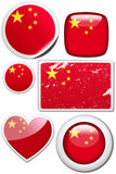 Set of stickers and buttons - China. Glossy and colorful stickers with reflection set Stock Image
