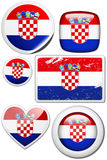 Set of stickers and buttons - Croatia. Glossy and colorful stickers with reflection set Stock Photo