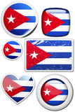 Set of stickers and buttons - cuba. Glossy and colorful stickers with reflection set Royalty Free Stock Image
