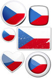 Set of stickers and buttons - Czech Republic. Glossy and colorful stickers with reflection set Stock Photography
