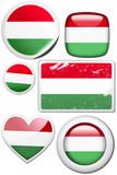 Set of stickers and buttons - Hungary. Glossy and colorful stickers with reflection set Royalty Free Stock Photo