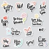 Set stickers Calligraphy Love design Stock Photo