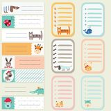 Set of stickers and cards with cute animals. For kids design Stock Photos