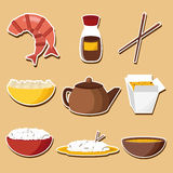Set of stickers on chinese cuisine theme Royalty Free Stock Images