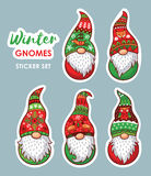 Set of stickers with Christmas gnomes. Trolls gnomes with white beards and long red and green hats. Stickers collection. Funny characters for Christmas. Vector Royalty Free Stock Photography