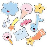 Set of Stickers Comic Style. Royalty Free Stock Image